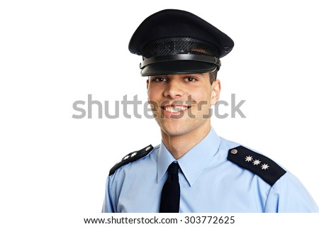 Smiling young policeman on white background, copyspace - stock photo
