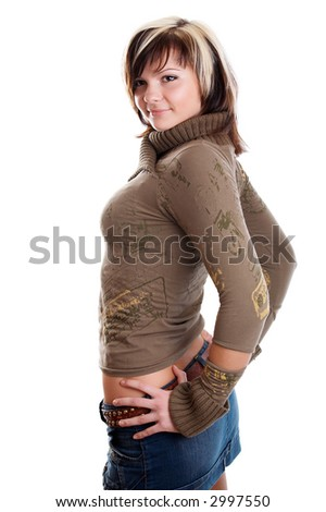 Smiling young pretty woman on white background - stock photo