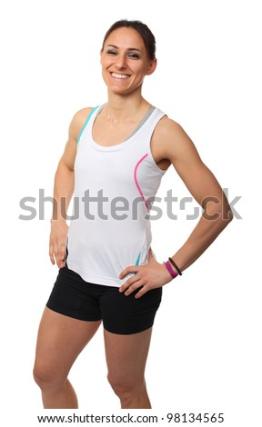 smiling young runner isolated on white - stock photo