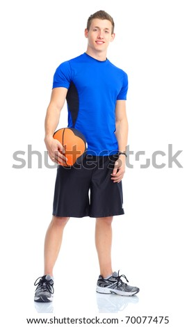Smiling young strong  man with a basketball ball.  Isolated over white background - stock photo