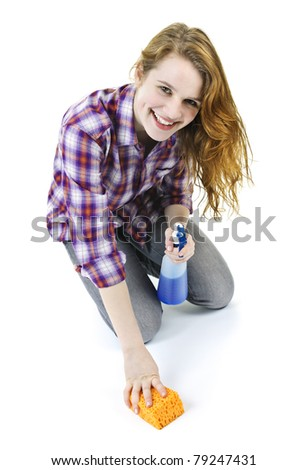 Smiling young woman cleaning floor with cleaning supplies isolated on white