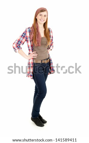 smiling young woman, full lenght, white background - stock photo