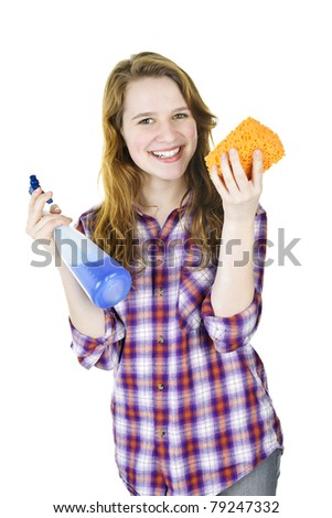 Smiling young woman holding cleaning supplies isolated on white - stock photo