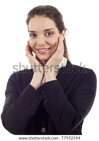 Smiling young woman holding her face isolated over white background - stock photo