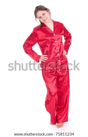 smiling young woman in red pajamas, full length, series - stock photo