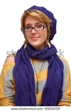 Smiling young woman in violet beret isolated over white - stock photo