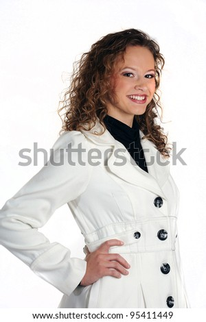 Smiling young woman isolated on a white studio background