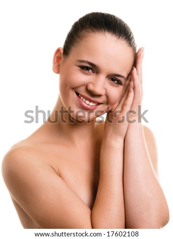 Smiling young woman on white