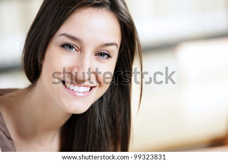 smiling young woman portrait - stock photo