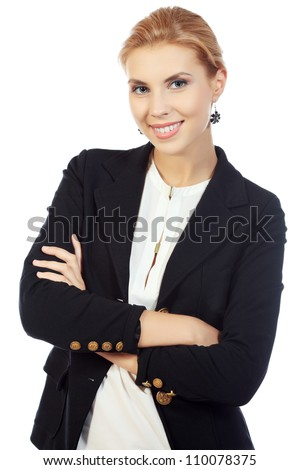 Smiling young woman posing in business suit. Isolated over white background.