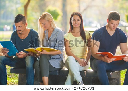 Smiling young woman sitting in a park with group of college students preparing exam together - stock photo