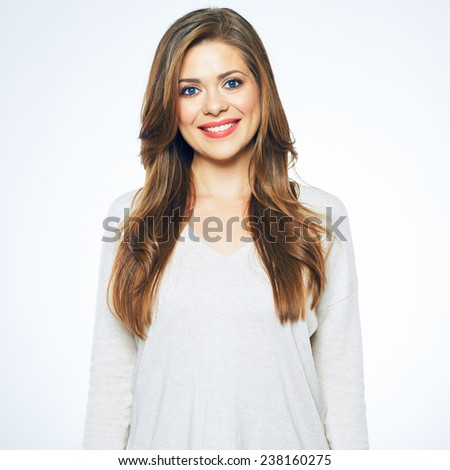 smiling young woman studio portrait with teeth smile. isolated portrait of female model with long hair. - stock photo