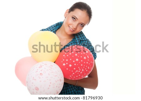 smiling young woman with balloons for happy birthday over white background - stock photo