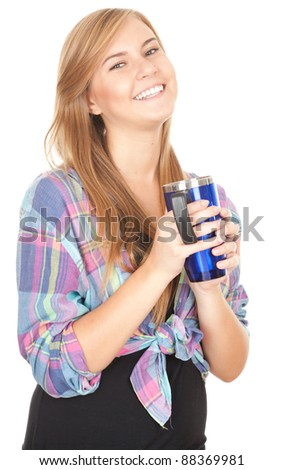 smiling young woman with big blue cup, white background