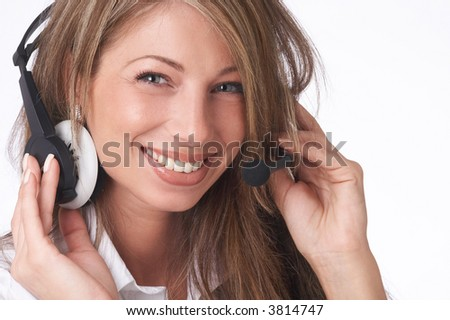 smiling young woman with headset communication