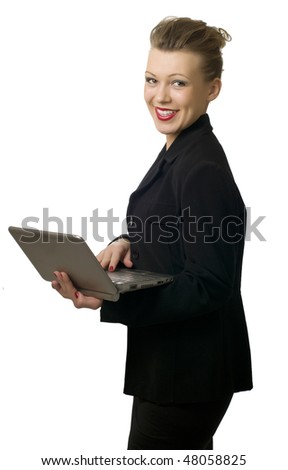 smiling young woman with laptop