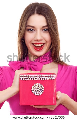 Smiling Young Woman With Pink Box In Hands - stock photo