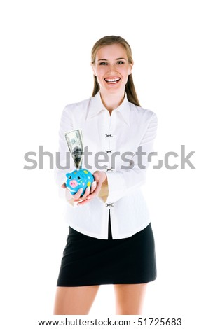 Smiling young women with a piggy bank - stock photo
