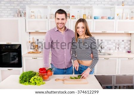 Smilling couple in love cutting vegetables in the kitchen - stock photo