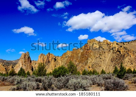 Smith Rock Oregon State Park with Blue Sky - stock photo