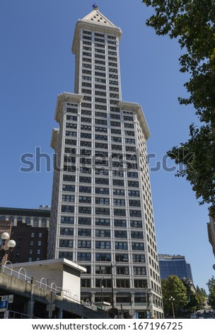 Smith Tower the oldest skyscraper in Seattle Washington at Pioneer  Square. - stock photo