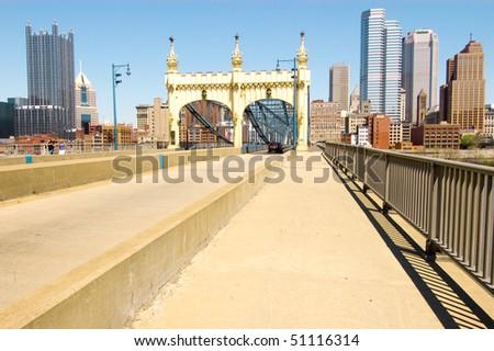 Smithfield Street Bridge and Pittsburgh skyline - stock photo