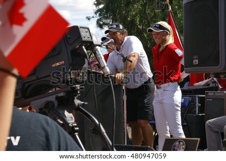 SMITHS FALLS, ON, CANADA, SEPTEMBER 09, 2016 - 50 Editorial Image Series of Pro Golf Sensations Brooke M. Henderson and sister Brittany Henderson giving a speech in their Hometown of Smiths Falls.