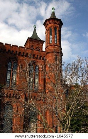 Smithsonian Building on Washington Mall - stock photo