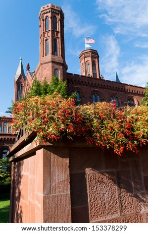 Smithsonian Castle in Washington DC, USA  - stock photo