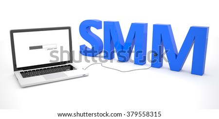 SMM - Social Media Marketing - laptop notebook computer connected to a word on white background. 3d render illustration. - stock photo