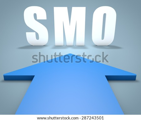 SMO - Social Media Optimization - 3d render concept of blue arrow pointing to text. - stock photo