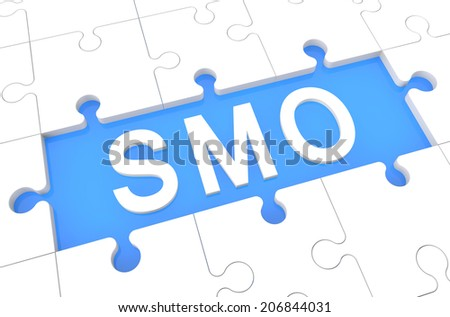 SMO - Social Media Optimization - puzzle 3d render illustration with word on blue background - stock photo