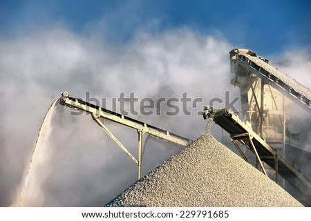 Smog and dirty dust air pollution industrial background on outdoor rock crushing and digging plant factory  - stock photo