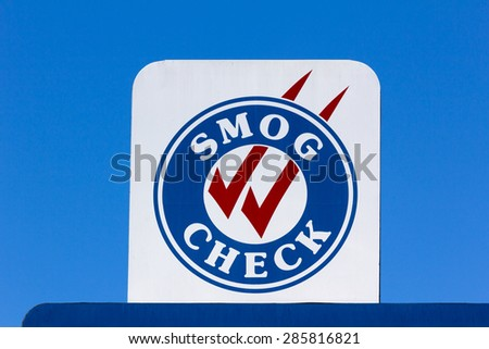 Smog Check sign at automotive repair shop in the United States - stock photo