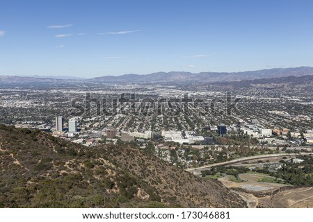 Smog free day in the San Fernando Valley area of Los Angeles, California.   - stock photo