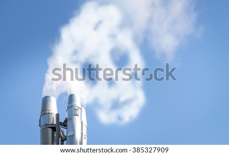 Smog from chimney making skull shape - stock photo