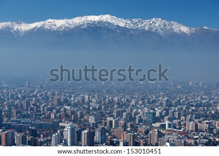 Smog under the city of Santiago, capital of Chile, financial and economy center of South America at sunrise.