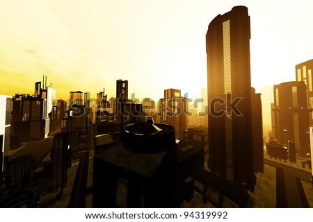 Smoggy Metropolis 3D render - stock photo
