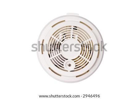 smoke alarm isolated on white background - stock photo