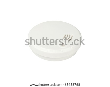 Smoke alarm isolated on white background - stock photo