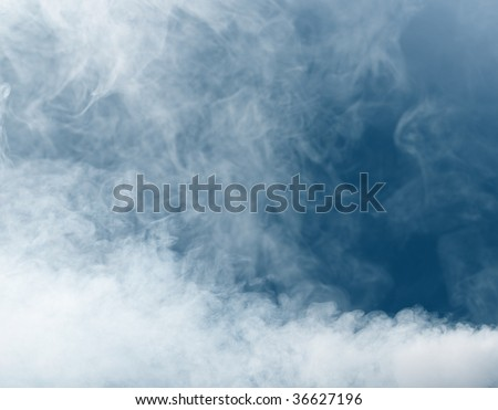 smoke background on blue - stock photo