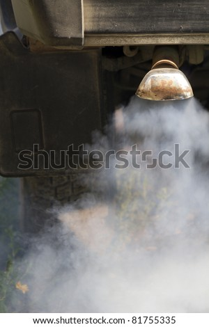 Smoke car exhausts - stock photo