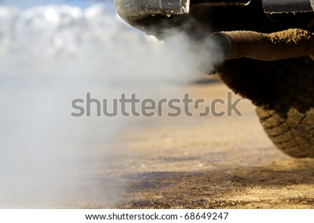 Smoke   car  pipe  exhaust - stock photo