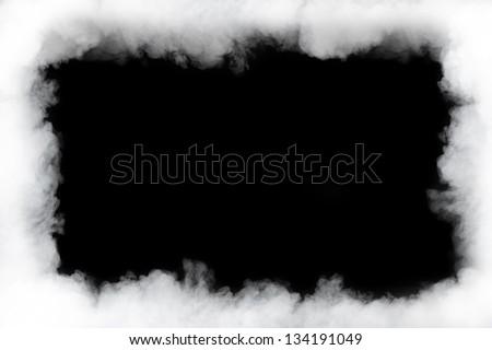 smoke cloud frame, isolated on black - stock photo