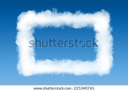 smoke cloud photo frame on blue sky background - stock photo