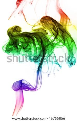 Smoke coming up from an incense stick over a white background with pretty colors on the fumes