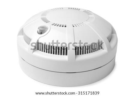 Smoke detector on white background - stock photo