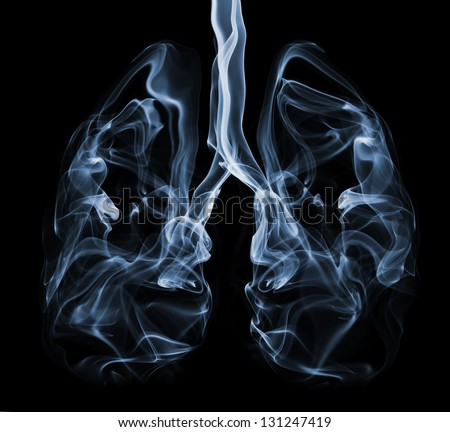 Smoke formation shaped as human lungs. Illustration of smokers lungs which could be used in non-smoking campaigns or lung cancer campaigns. - stock photo