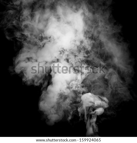 Smoke fragments on a black background - stock photo