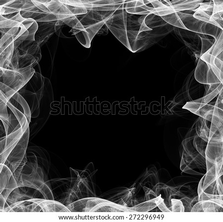 Smoke frame. Stylized frame for text on black background. - stock photo